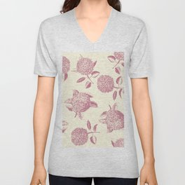 Big lush hydrangea flowers on off-white background seamless pattern. Pale pink. Atemporal, classic. Unisex V-Neck