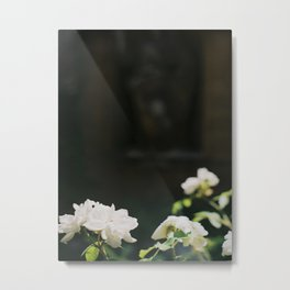 White Florals Flowers Against A Dark Background Negative Space Composition Metal Print