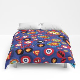 Movie Super Hero logos Comforters