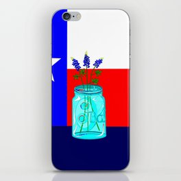 A Texas Flag and Blue Bonnets in a Jar iPhone Skin