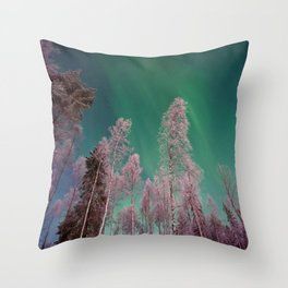 Northern Lights Pine Trees (Color) Throw Pillow