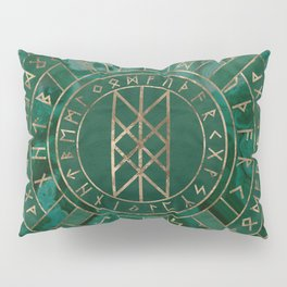 Web of Wyrd - Malachite, Leather and Golden texture Pillow Sham