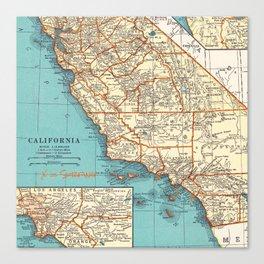 So Cal Surf Map Canvas Print