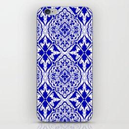 BOHEMIAN PALACE, ORNATE DAMASK: BLUE and WHITE iPhone Skin