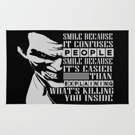 Smile because it confuses people Inspirational Motivational Quote Design Rug