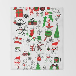 Happy Christmas Doodles Throw Blanket