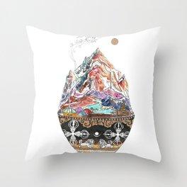 Base Camp - Himalayan Mountain Tent Village Throw Pillow