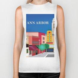 Ann Arbor, Michigan - Skyline Illustration by Loose Petals Biker Tank