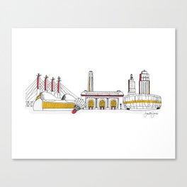 Kansas City Skyline Illustration in KC Football Colors Canvas Print