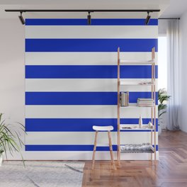 Cobalt Blue and White Wide Cabana Tent Stripe Wall Mural