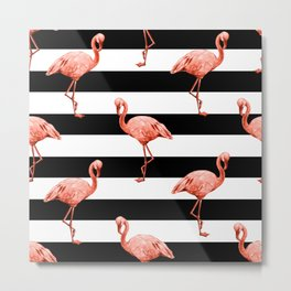 Simply Flamingo Deep Coral on Midnight Black Stripes Metal Print