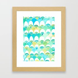 blue and green scale pattern Framed Art Print