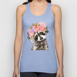 Baby Raccoon with Flowers Crown Unisex Tank Top