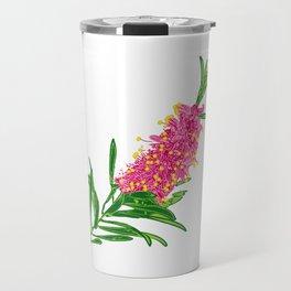 Beautiful Pink Australian Native Floral Illustration Travel Mug