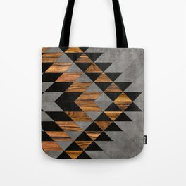 Urban Tribal Pattern 10 - Aztec - Concrete and Wood Tote Bag