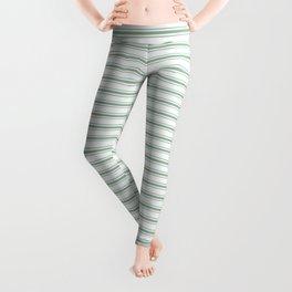 Mattress Ticking Narrow Horizontal Striped Pattern in Moss Green and White Leggings