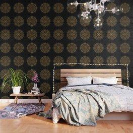 MANDALA IN BLACK AND GOLD Wallpaper