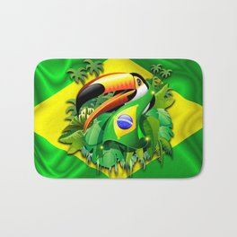 Toco Toucan with Brazil Flag Bath Mat