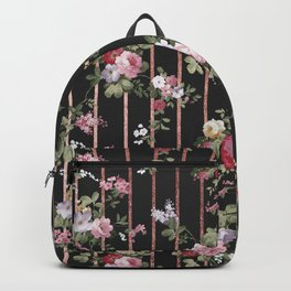 Elegant faux rose gold black stripes vintage blush pink lavender floral Backpack