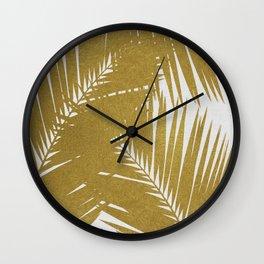 Palm Leaf Gold III Wall Clock