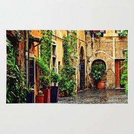 Vintage street in Rome, after Rain Rug
