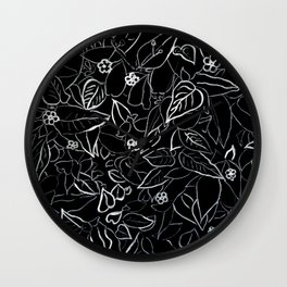 White ink, black card board. Graphic art, ink spring flowers Wall Clock