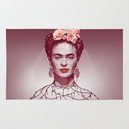 Frida Kahlo Low Poly Portrait Rug