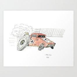 Red Cartoon Race Car Art Print