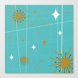 Atomic Burst Teal White and Gold Canvas Print