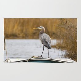 Great Blue Heron on Fishing Boat Rug
