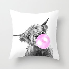 Bubble Gum Highland Cow Black and White Throw Pillow