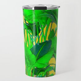 COFFEE BROWN TROPICAL GREEN & GOLD FOLIAGE ART Travel Mug