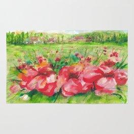 Red Flower Field Watercolors Rug
