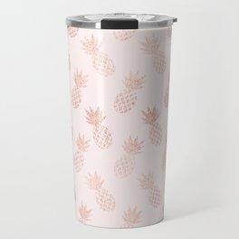Rose Gold Pineapple Pattern Travel Mug