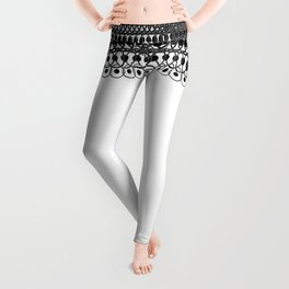 Geometric Lace in Black on White Leggings