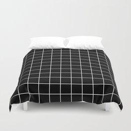 Square Grid Black Duvet Cover