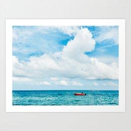Red Boat against the Caribbean Sky Fine Art Print Art Print