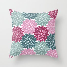 Petals in Rose, Maroon and Light and Dark Cyan Throw Pillow