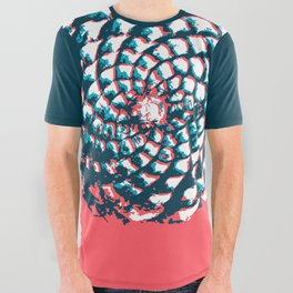 pine cone pattern in coral, aqua and indigo All Over Graphic Tee