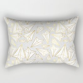 Paper Airplanes Faux Gold on Grey Rectangular Pillow