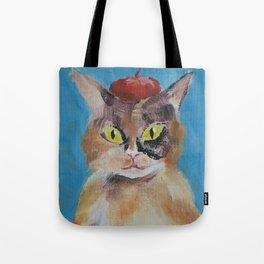 Calico Cat with Beret Tote Bag