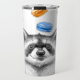 raccoon with cookies Travel Mug