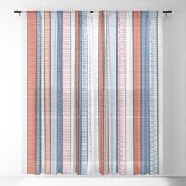 Striped pattern Colorful Stripe design - red, blue, white, orange Sheer Curtain