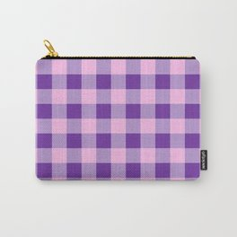 Purple and Pink Check Carry-All Pouch