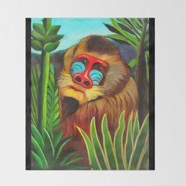 Henri Rousseau Mandrill In The Jungle Throw Blanket