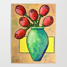 Large Red Rose Buds Poster