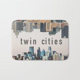 Twin Cities Minneapolis and Saint Paul Minnesota Skylines Bath Mat