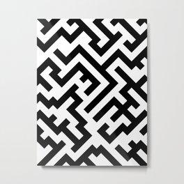 Black and White Diagonal Labyrinth Metal Print