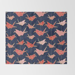 Red origami cranes on navy blue Throw Blanket