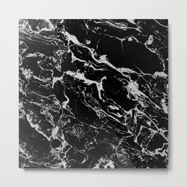 Modern silver black marble pattern Metal Print